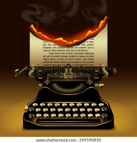 Od typewriter with a burning paper. Writing concept vector illustration - stock vector