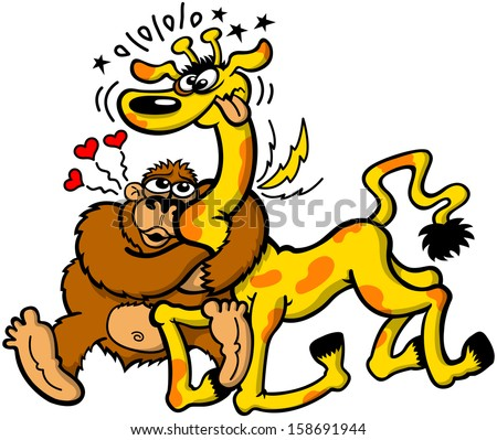 Odd couple composed by a wild strong gorilla madly in love with a fragile giraffe which suffers the strength of the passion in a powerful hug that forces it to kneel and hurtfully twist its long neck - stock vector