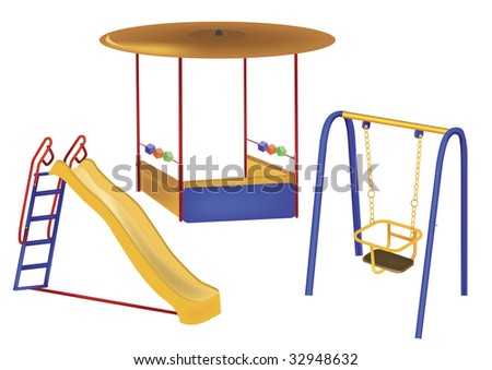 of children's playground on a white background - stock vector
