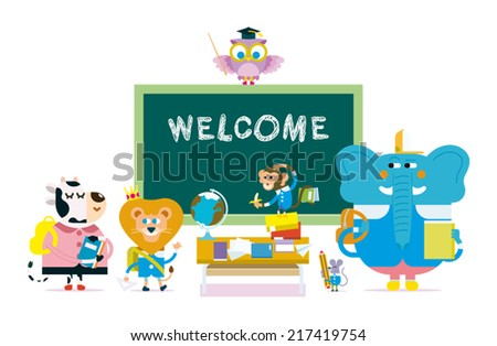 of cute animals go to school - vector illustration - stock vector
