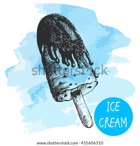 of Ice Cream in a waffles on blue background watercolor. vector sketches.hand drawn sketch style. with chocolate on a stick - stock vector