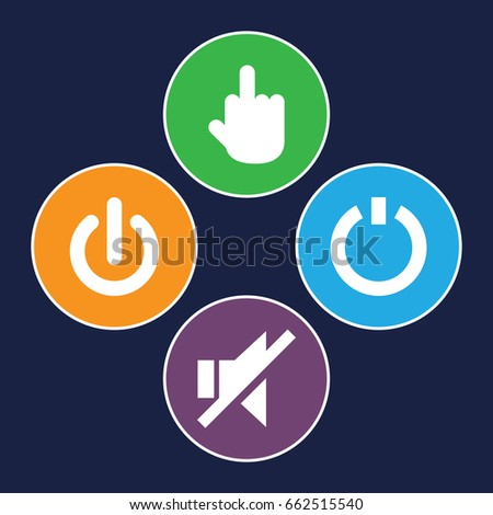 Off icons set. set of 4 off filled icons such as middle finger, no sound
