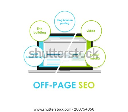 off page seo search engine optimization off-page - stock vector