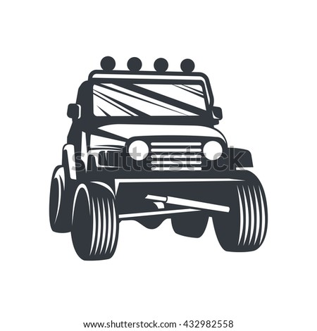 Off-road car logo, emblem, badge, icon illustration on white background.