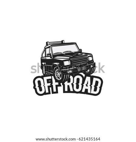 Off road car technology in hard street logo vector