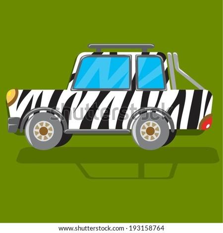 Off Road Car Zebra Texture - stock vector