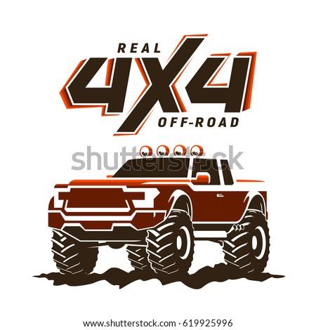 Offroad Monster Truck Pickup Logo Stock Vector