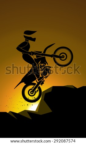 Off road sport Motorcycle. vector colorful illustration  - stock vector