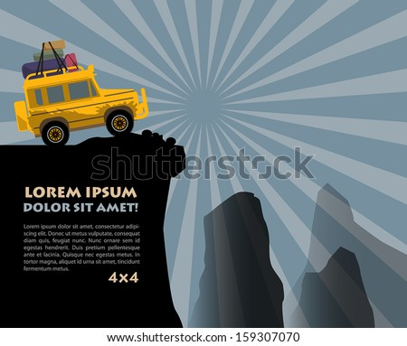 Off-road vehicle background, vector illustration - stock vector
