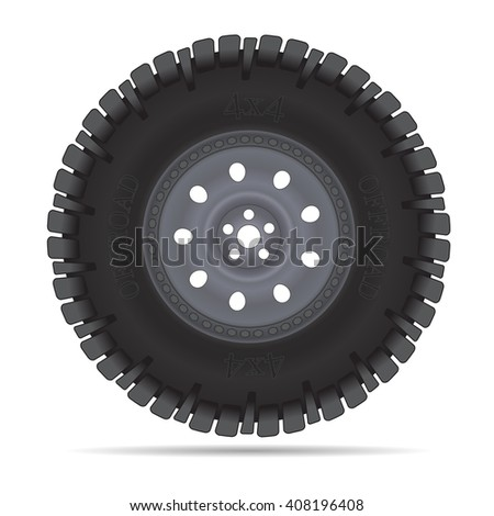 Off road vehicles wheel, vector illustration isolated on white