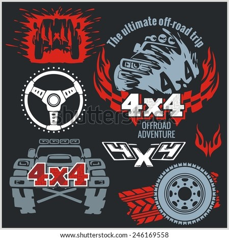 Off roading - elements and emblem with 4x4 vehicle off-road car - vector set - stock vector