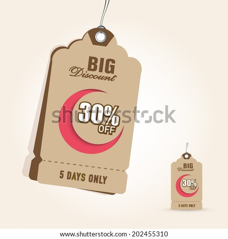 Offer and discount sale tags in brown color for the festival of Eid Mubarak.  - stock vector