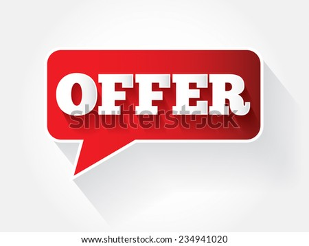 OFFER message bubble, vector background