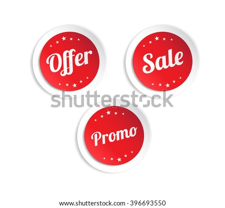Offer sale promo stickers