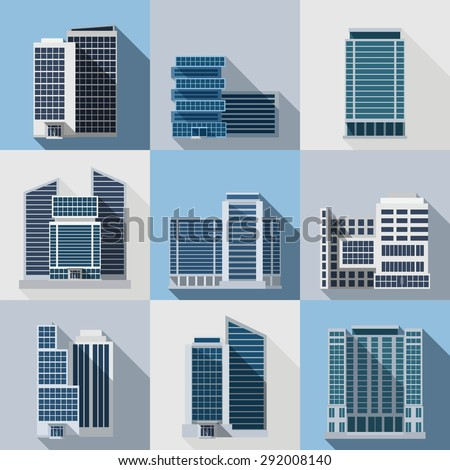 Office and business buildings flat long shadow icons set isolated vector illustration - stock vector