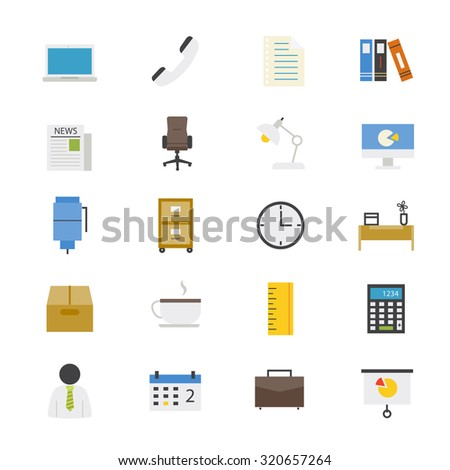 Office and Business Flat Icons color - stock vector