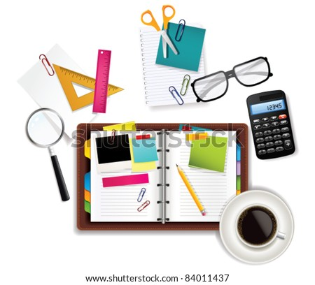 Office and Business Supplies Background. Vector Illustration. - stock vector