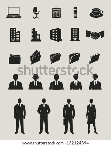 office and documents, business people and buildings icons set - stock vector
