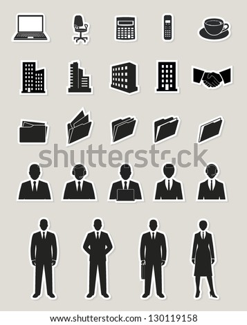 office and documents, business people and buildings icons set. paper stickers - stock vector