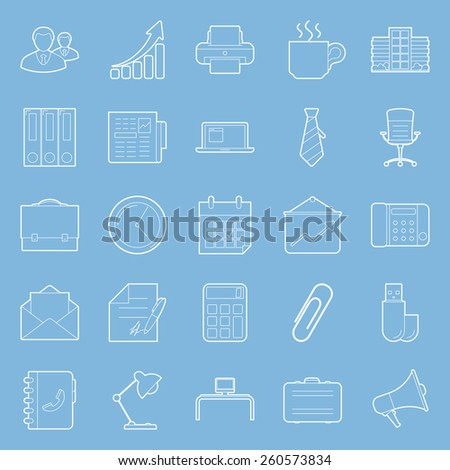 Office and marketing thin lines icons set vector graphic design  - stock vector