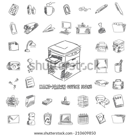 office and organization hand drawn icon set - stock vector