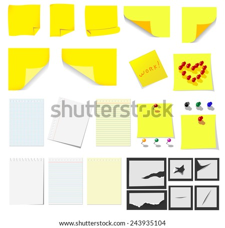 Office and school, yellow sticky notes and turned paper set for design - stock vector