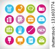 office and stationery icon set - stock vector