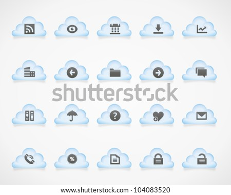 Office and web icons on light clouds, set 1. Image contains transparency - you can put it on every surface. 10 EPS