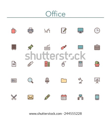 Office and workplace colored line icons set. Vector illustration. - stock vector