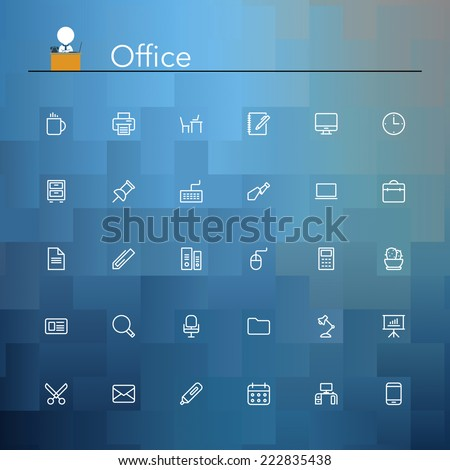 Office and workplace line Icons set. Vector illustration. - stock vector
