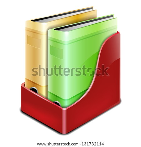 Office binder with paper folders - isolated on white - stock vector