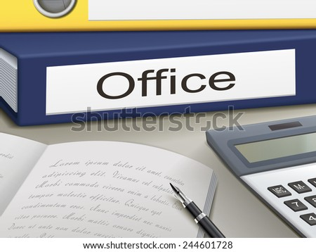 office binders isolated on the office table - stock vector