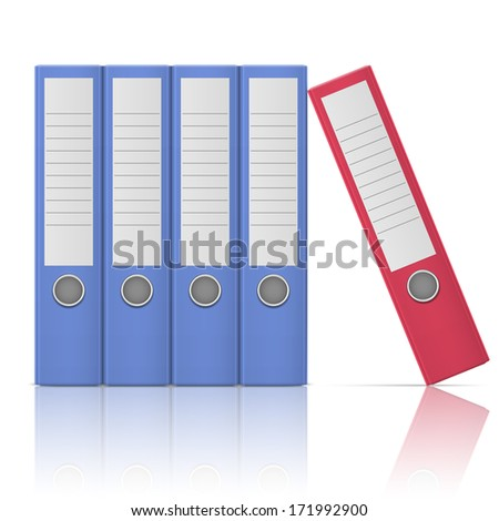 Office binders, standing five in row, in different colors, on white background. Vector illustration. EPS10. - stock vector