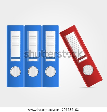 Office binders, standing in row, red and blue, on white background. Vector illustration.