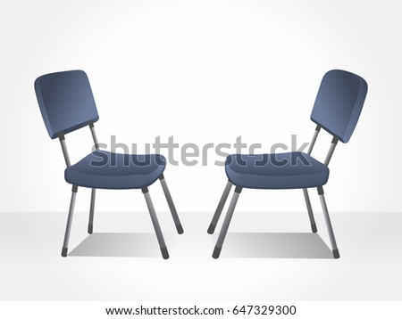 Office blue chairs. Isolated chairs.