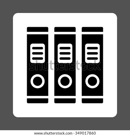 Office Books vector icon. Style is flat rounded square button, black and white colors, gray background.