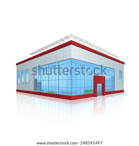 office building and the entrance with reflection on a white background