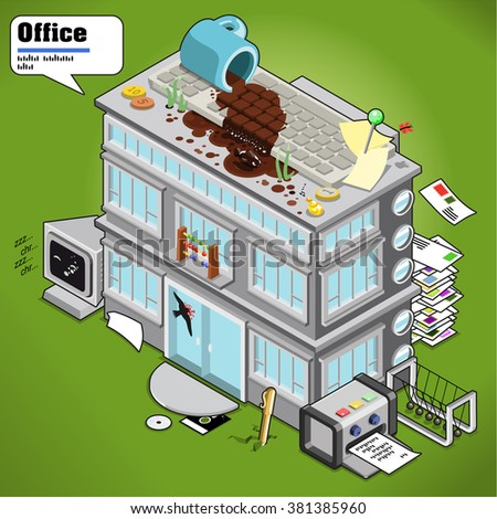 Office building decorated with office items and equipment and letters, rooftop with coffee spilled on keyboard. AR description in speech bubble  (isometric illustration) - stock vector