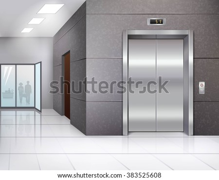 Office building hall with shining floor and metal chrome elevator door realistic vector illustration - stock vector