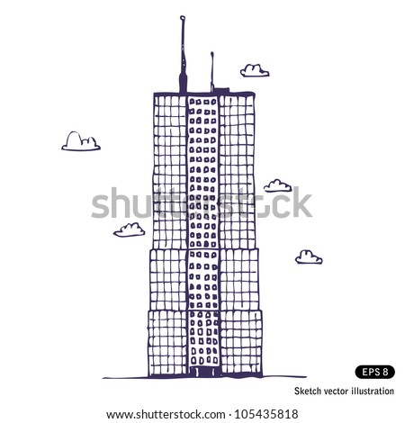 Office building. Hand drawn sketch illustration isolated on white background - stock vector