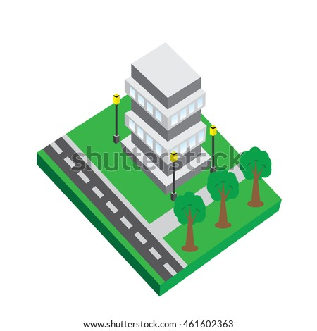 office building isolated stock for tycoon game - 3d office building vector