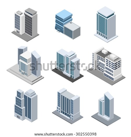 Office building isometric with 3d skyscrapers icons isolated vector illustration - stock vector