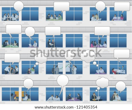 Office building with business people talking by speech balloons on windows