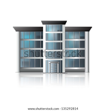 office building with reflection and input. - stock vector