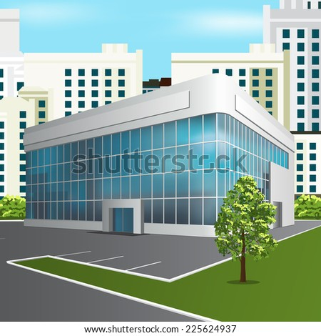 office building with reflection and tree on the street background