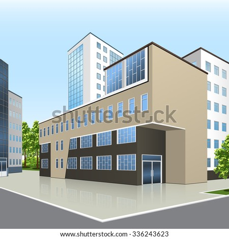 office building with the entrance and a reflection on the background of the street