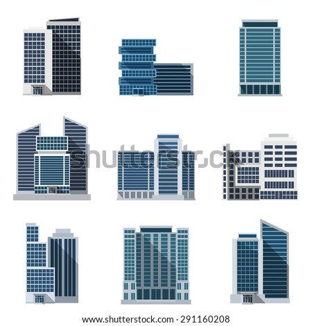 Office buildings and business centers flat icons set isolated vector illustration - stock vector