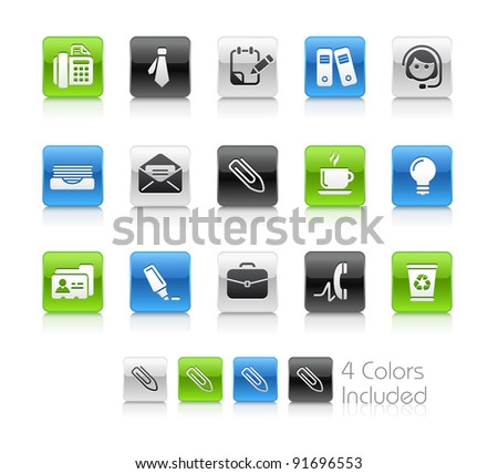 Office & Business Buttons  / The file Includes 4 color versions in different layers. - stock vector
