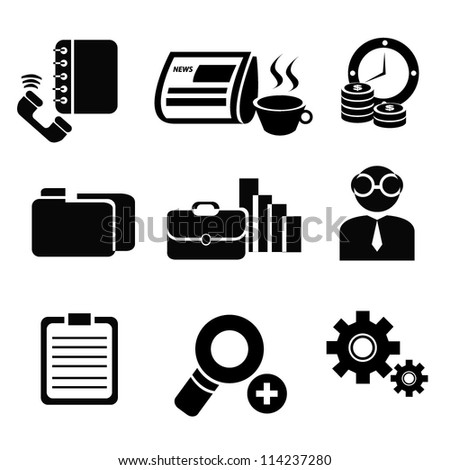 office, business icon set, black - stock vector