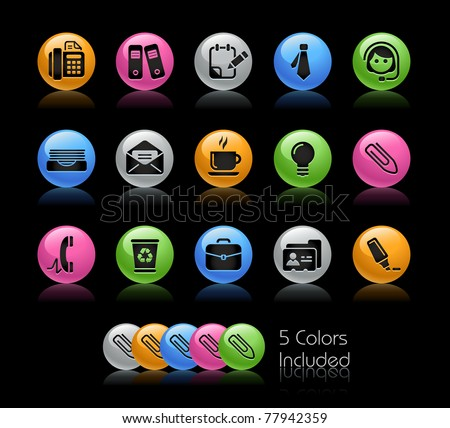 Office & Business Icons // Gelcolor Series -------It includes 5 color versions for each icon in different layers --------- - stock vector